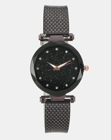 You & I Glitter Watch Black