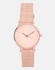 You & I Texture PU Soft Pink Watch