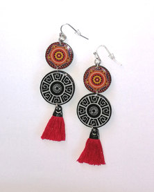 Abarootchi Mandala-style Drop Earrings Black & red