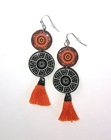Abarootchi Mandala-style Drop Earrings - Black & orange