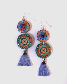 Abarootchi Mandala-style Drop Earrings - Green & lilac