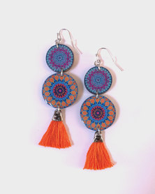 Abarootchi Mandala-style Drop Earrings - Blue/Orange