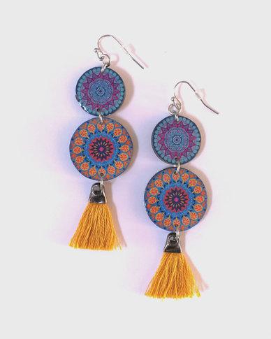 Abarootchi Mandala-style Drop Earrings - Blue & yellow