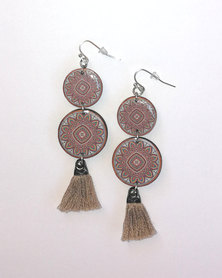 Abarootchi Mandala-style Drop Earrings Beige