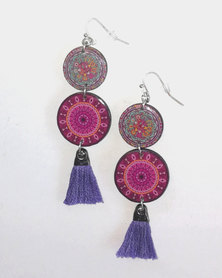 Abarootchi Mandala-style Drop Earrings - Hot pink & Purple