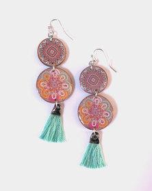 Abarootchi Mandala-style Drop Earrings - Pale Green