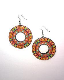 Abarootchi Mandala-style Hoop Earrings - Orange