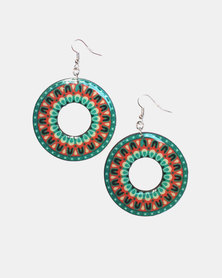 Abarootchi Mandala-style Hoop Earrings - Green