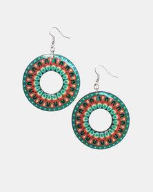 Abarootchi Mandala-style Hoop Earrings - Green