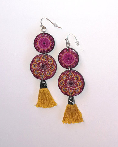 Abarootchi Mandala-style Drop Earrings - Pink & Ochre
