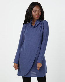 Miss Cassidy By Queenspark Cut & Sew Wrap Knit Top Blue