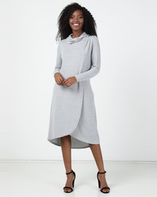 Miss Cassidy By Queenspark Cowlneck Cut & Sew Knit Dress Grey