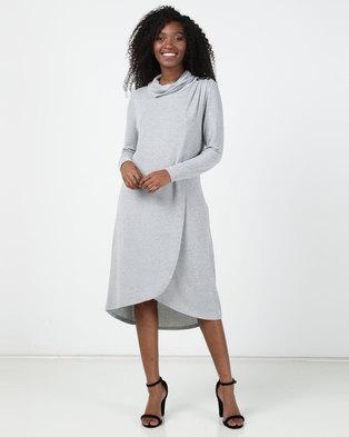 Miss Cassidy By Queenspark Cowlneck Cut & Sew Knit Dress Grey
