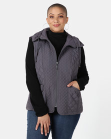 Queenspark Plus Collection New Fancy Gilet Woven Jacket Charcoal
