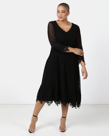 Queenspark Plus Collection New Mesh Iron On Fit And Flare Knit Dress Black
