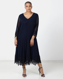 Queenspark Plus Collection New Mesh Iron On Fit And Flare Knit Dress Navy