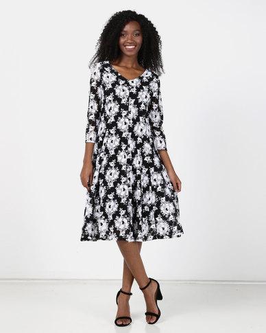 Queenspark Rose Design Fit & Flare Mesh Dress Black/White
