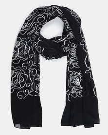 Queenspark Embroidered Scarf Black