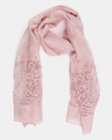 Queenspark Flower Border Mesh Design Scarf Pink