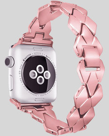 Gretmol 38MM Apple Watch Rhombic Metal Replacement Strap - Rose Pink