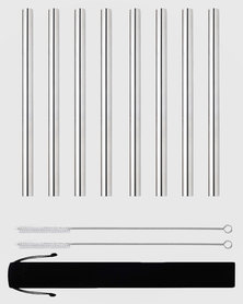 Gretmol Online Reusable Stainless Steel Smoothie Straws Straight Short - 8 Pack Silver
