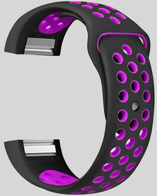 Gretmol Black & Purple Fitbit Charge 2 Sport Silicone Replacement Strap
