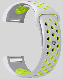 Gretmol Silver & Yellow Fitbit Charge 2 Sport Silicone Replacement Strap