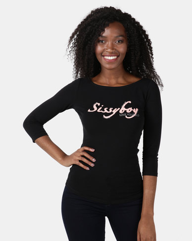 Sissy Boy Carl One Up Logo With Boat Neck Black