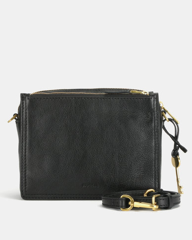 Fossil Campbell Leather Crossbody Bag Black
