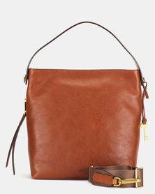 Fossil Maya Leather Small Hobo Bag Brown