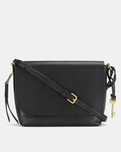 Fossil Maya Leather Small Flap Crossbody Bag Black