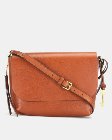 best wholesaler big sale how to buy Fossil Maya Leather Small Flap Crossbody Bag Brown
