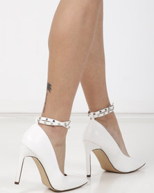 Sissy Boy Ankle Strap Heel with Pearl Detail White