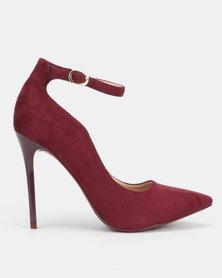 Sissy Boy Microfibre Ankle Strap Heels Burgundy