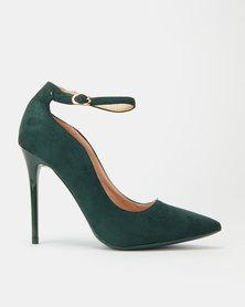 Sissy Boy Microfibre Ankle Strap Heels Dark Green