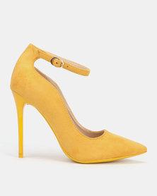 Sissy Boy Microfibre Ankle Strap Heels Mustard