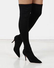 Sissy Boy Knee High Heeled Boots Black