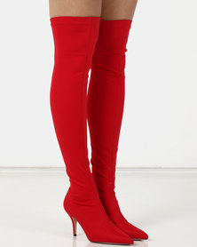Sissy Boy Knee High Heeled Boots Red
