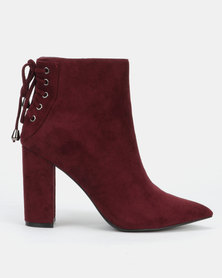Sissy Boy Ankle Boots with Lace Up Detail Burgundy