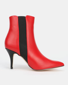 Sissy Boy Heeled Ankle Boots Red