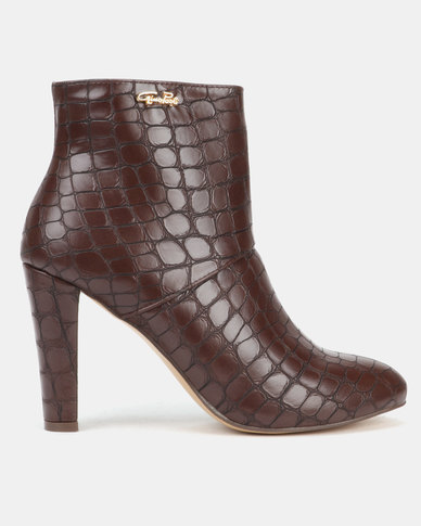 Gino Paoli Heeled Croc Detail Ankle Boot Brown