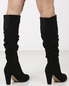 Gino Paoli Knee High Rouged Boots Black
