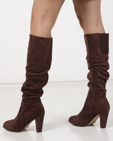 Gino Paoli Knee High Rouged Boots Brown
