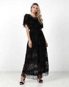 Fred Tsuya  Lacre Maxi Dress Black