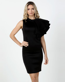 Fred Tsuya Long Scuba Dress Black
