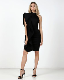 Fred Tsuya Scuba Ruffle Shoulder Dress Black