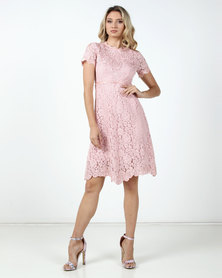 Fred Tsuya Lace Beaded Dress Pink