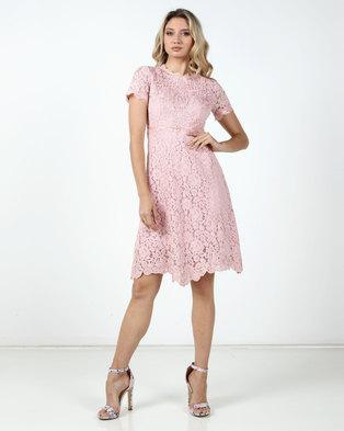 Fred Tsuya Lace Beaded Dress Pink