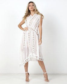 Fred Tsuya  Zig Zag Stud Dress White