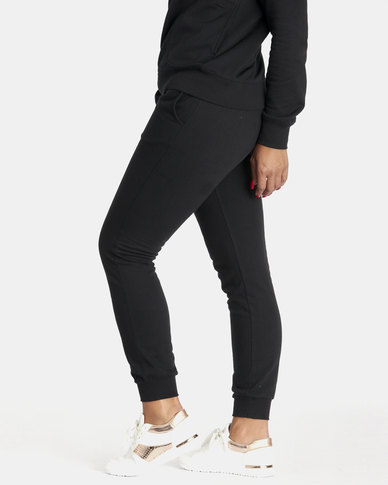 Contempo Stripe Drawcord Joggers Black